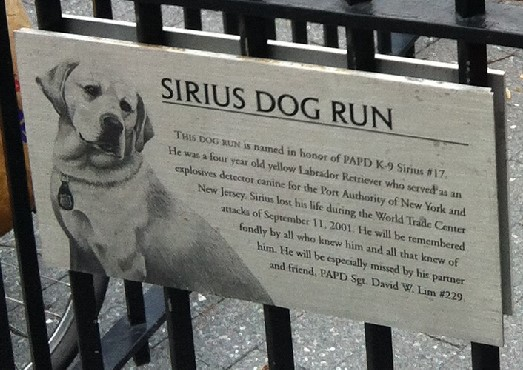 Sirius dog run sign close