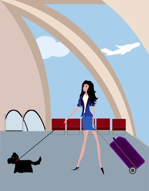 The girl with a suitcase in the airport